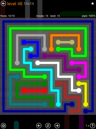 Solution and Answer to the Puzzle for Flow 14mania Pack Set 14x14 Level 46
