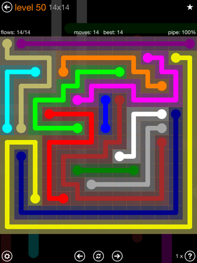 Solution and Answer to the Puzzle for Flow 14mania Pack Set 14x14 Level 50
