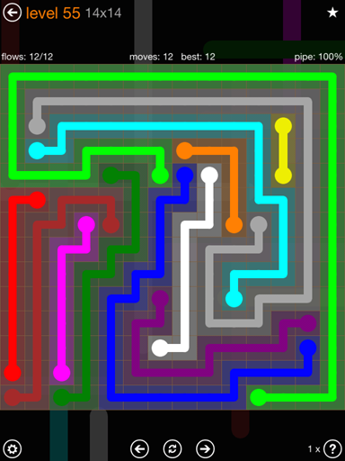 Solution and Answer to the Puzzle for Flow 14mania Pack Set 14x14 Level 55