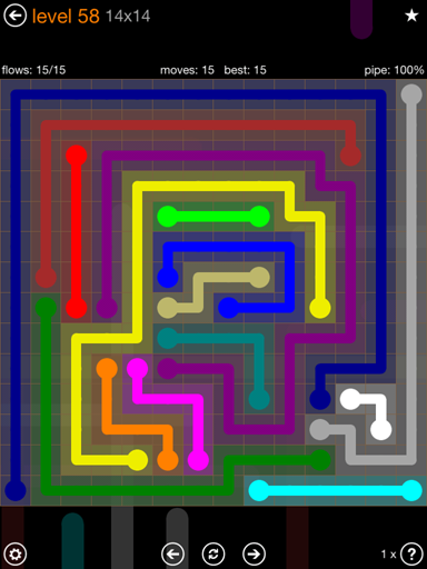 Solution and Answer to the Puzzle for Flow 14mania Pack Set 14x14 Level 58
