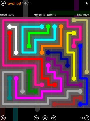 Solution and Answer to the Puzzle for Flow 14mania Pack Set 14x14 Level 59