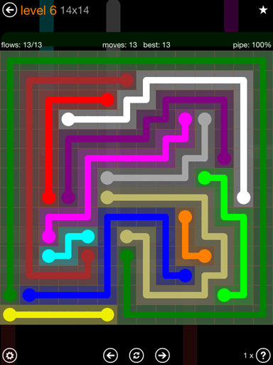 Solution and Answer to the Puzzle for Flow 14mania Pack Set 14x14 Level 6