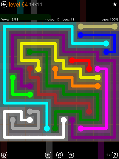 Solution and Answer to the Puzzle for Flow 14mania Pack Set 14x14 Level 64