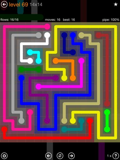 Solution and Answer to the Puzzle for Flow 14mania Pack Set 14x14 Level 69