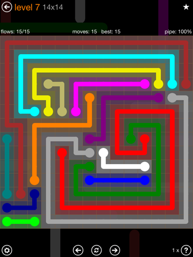 Solution and Answer to the Puzzle for Flow 14mania Pack Set 14x14 Level 7