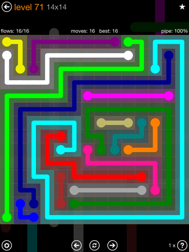 Solution and Answer to the Puzzle for Flow 14mania Pack Set 14x14 Level 71