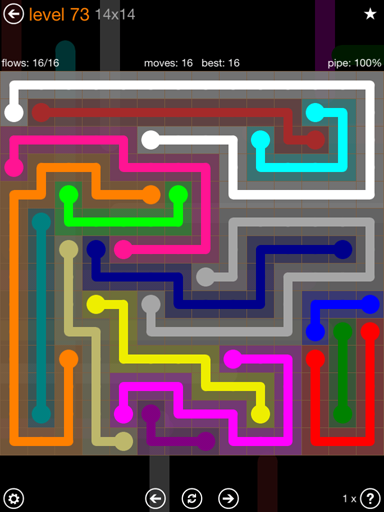 Solution and Answer to the Puzzle for Flow 14mania Pack Set 14x14 Level 73