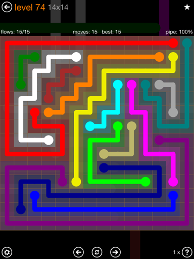 Solution and Answer to the Puzzle for Flow 14mania Pack Set 14x14 Level 74