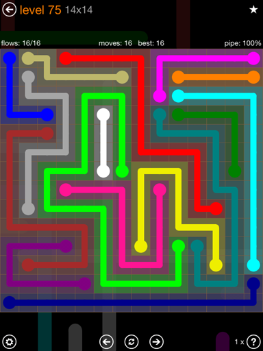 Solution and Answer to the Puzzle for Flow 14mania Pack Set 14x14 Level 75