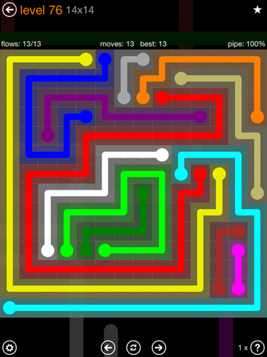 Solution and Answer to the Puzzle for Flow 14mania Pack Set 14x14 Level 76
