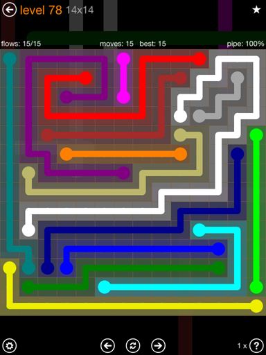 Solution and Answer to the Puzzle for Flow 14mania Pack Set 14x14 Level 78