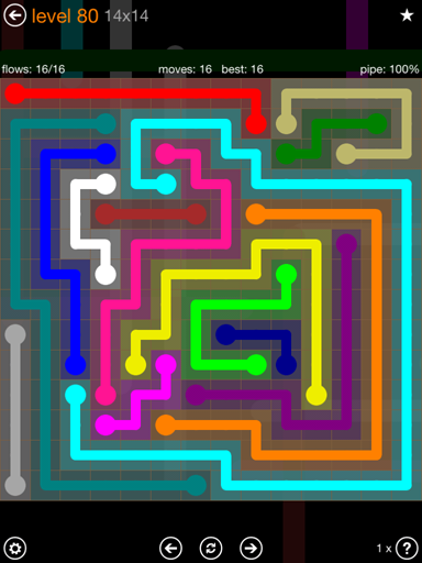 Solution and Answer to the Puzzle for Flow 14mania Pack Set 14x14 Level 80
