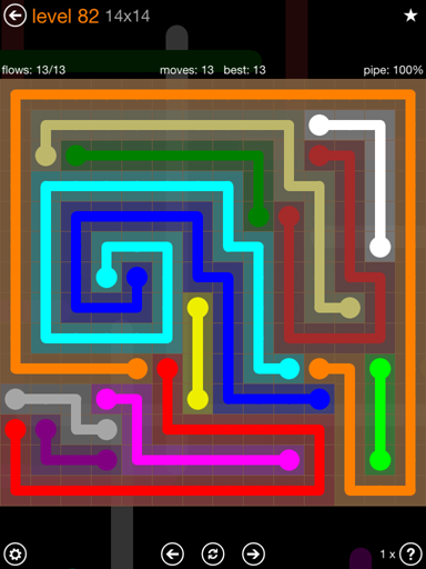 Solution and Answer to the Puzzle for Flow 14mania Pack Set 14x14 Level 82