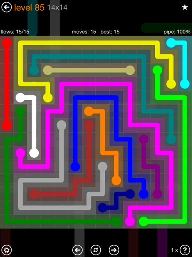 Solution and Answer to the Puzzle for Flow 14mania Pack Set 14x14 Level 85
