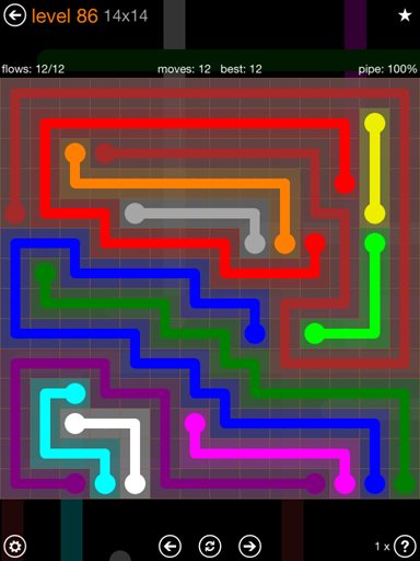 Solution and Answer to the Puzzle for Flow 14mania Pack Set 14x14 Level 86