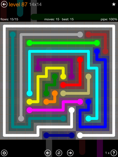 Solution and Answer to the Puzzle for Flow 14mania Pack Set 14x14 Level 87