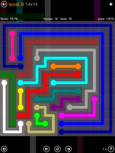 Solution and Answer to the Puzzle for Flow 14mania Pack Set 14x14 Level 9