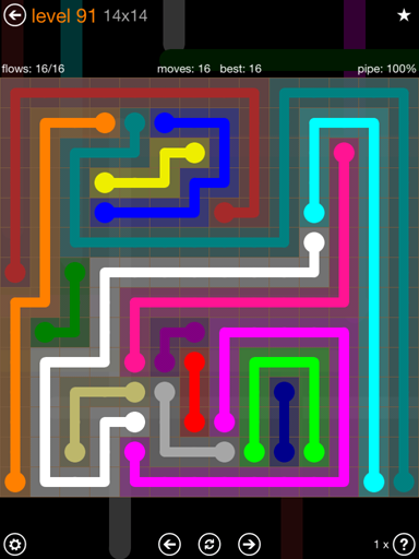 Solution and Answer to the Puzzle for Flow 14mania Pack Set 14x14 Level 91
