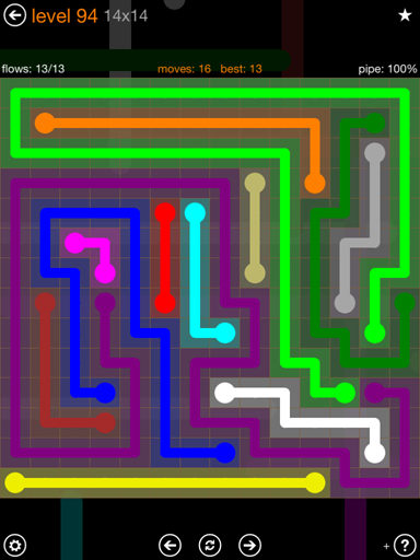 Solution and Answer to the Puzzle for Flow 14mania Pack Set 14x14 Level 94