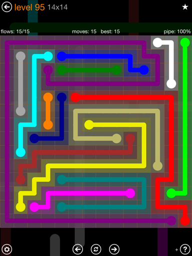 Solution and Answer to the Puzzle for Flow 14mania Pack Set 14x14 Level 95