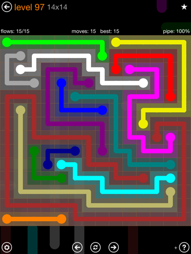 Solution and Answer to the Puzzle for Flow 14mania Pack Set 14x14 Level 97