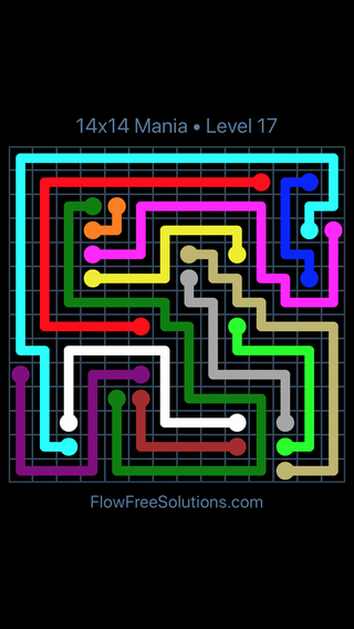 Solution and Answer to the Puzzle for Flow Free 14x14 Mania Level 17
