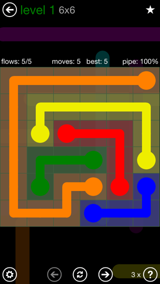 Solution and Answer to the Puzzle for Flow 6mania Pack Set 6x6 Level 1