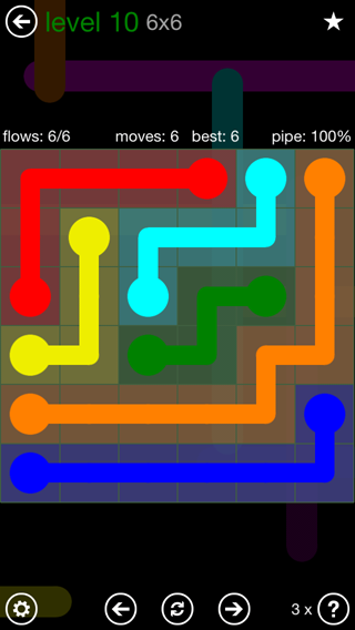 Solution and Answer to the Puzzle for Flow 6mania Pack Set 6x6 Level 10