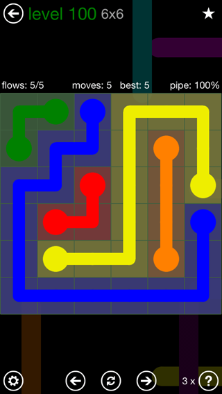 Solution and Answer to the Puzzle for Flow 6mania Pack Set 6x6 Level 100