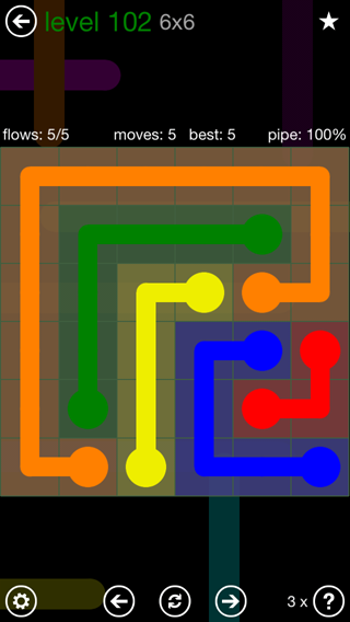 Solution and Answer to the Puzzle for Flow 6mania Pack Set 6x6 Level 102