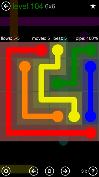 Solution and Answer to the Puzzle for Flow 6mania Pack Set 6x6 Level 104