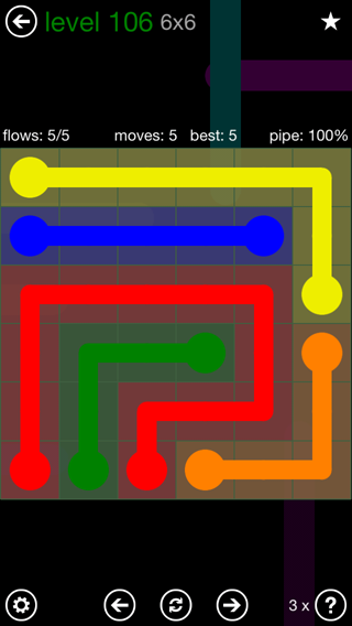 Solution and Answer to the Puzzle for Flow 6mania Pack Set 6x6 Level 106