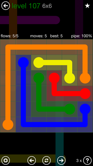 Solution and Answer to the Puzzle for Flow 6mania Pack Set 6x6 Level 107
