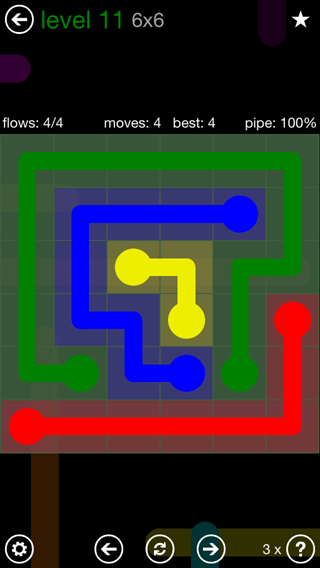 Solution and Answer to the Puzzle for Flow 6mania Pack Set 6x6 Level 11
