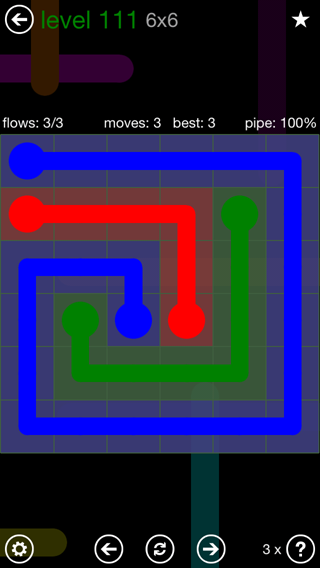 Solution and Answer to the Puzzle for Flow 6mania Pack Set 6x6 Level 111
