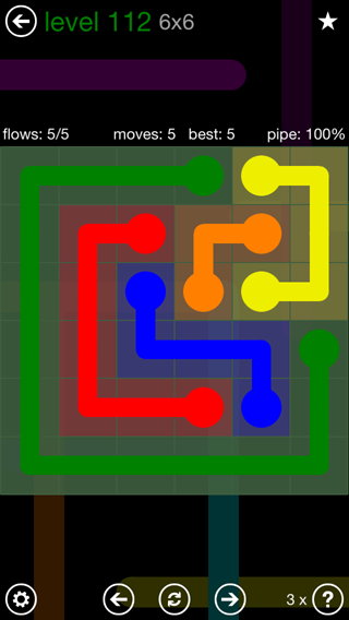 Solution and Answer to the Puzzle for Flow 6mania Pack Set 6x6 Level 112