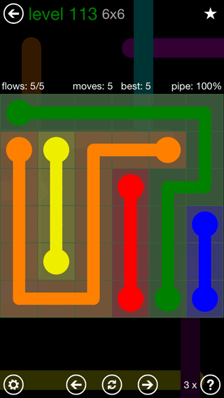 Solution and Answer to the Puzzle for Flow 6mania Pack Set 6x6 Level 113