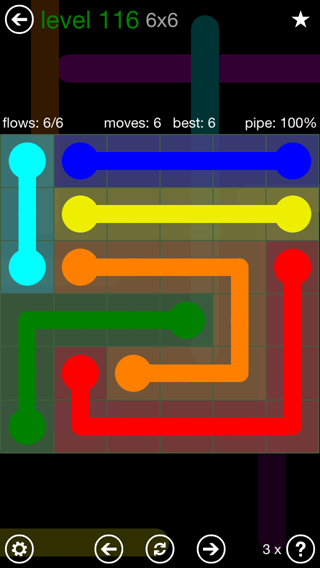Solution and Answer to the Puzzle for Flow 6mania Pack Set 6x6 Level 116