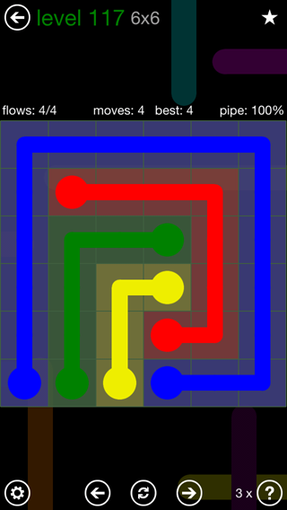 Solution and Answer to the Puzzle for Flow 6mania Pack Set 6x6 Level 117