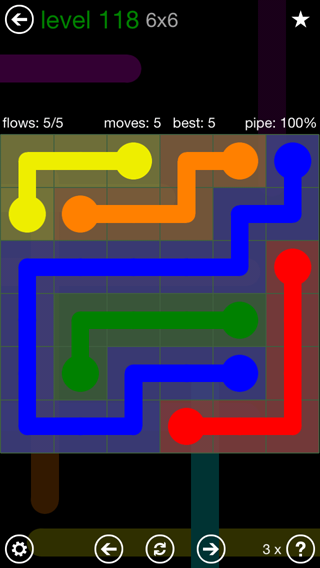 Solution and Answer to the Puzzle for Flow 6mania Pack Set 6x6 Level 118