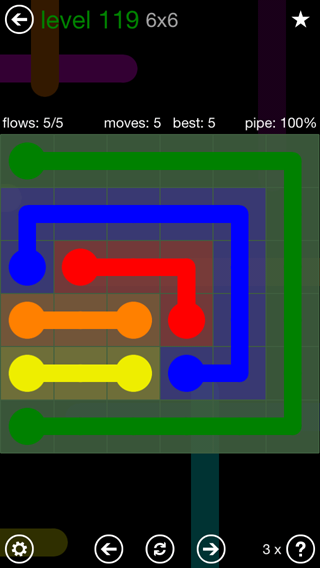 Solution and Answer to the Puzzle for Flow 6mania Pack Set 6x6 Level 119