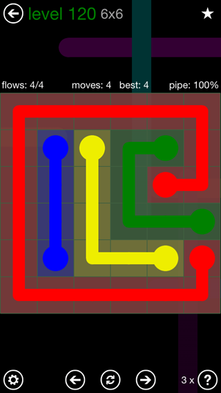 Solution and Answer to the Puzzle for Flow 6mania Pack Set 6x6 Level 120