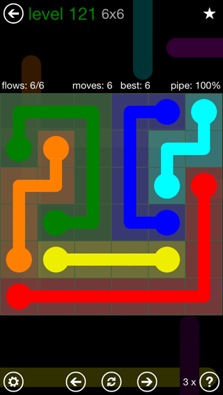 Solution and Answer to the Puzzle for Flow 6mania Pack Set 6x6 Level 121