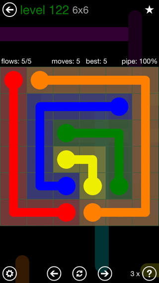 Solution and Answer to the Puzzle for Flow 6mania Pack Set 6x6 Level 122