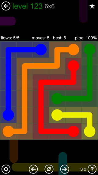 Solution and Answer to the Puzzle for Flow 6mania Pack Set 6x6 Level 123