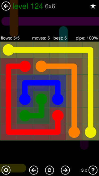 Solution and Answer to the Puzzle for Flow 6mania Pack Set 6x6 Level 124