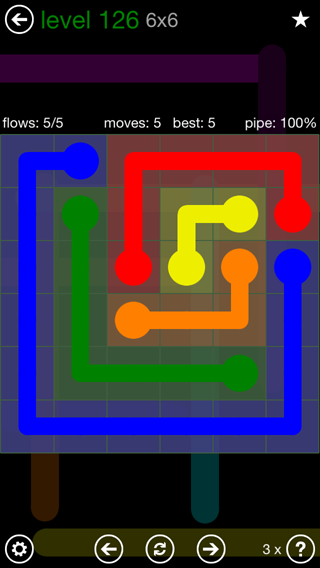 Solution and Answer to the Puzzle for Flow 6mania Pack Set 6x6 Level 126