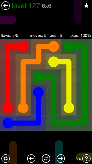 Solution and Answer to the Puzzle for Flow 6mania Pack Set 6x6 Level 127