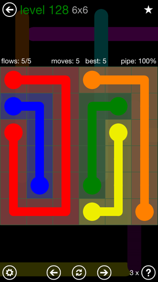 Solution and Answer to the Puzzle for Flow 6mania Pack Set 6x6 Level 128