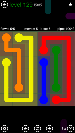 Solution and Answer to the Puzzle for Flow 6mania Pack Set 6x6 Level 129